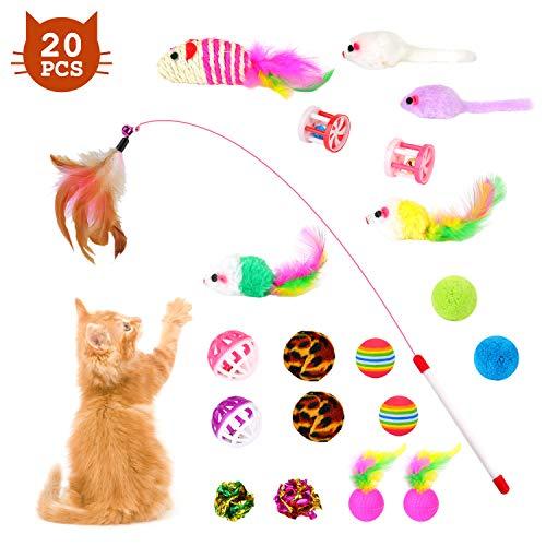 EKKONG 20 Stück Katzenspielzeug Set, Federspielzeug für Katzen, Variety katzenspielzeug Pack, Katze Toys mit Federspielzeug Bälle Maus für Katze Kitty