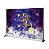 Twinkle Twinkle Little Star Banner de fondo Kolaimo Fotografía Estudio Glitter Star Moon Boy Girl Baby Shower Decoración de fiesta de cumpleaños para revelar género (sxy217,3 x 2,4 m)