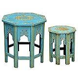 Casa Moro Orientalische Beistelltische 2er Set Saada Blau M & L aus Massiv-Holz handbemalt | Shabby Chic Couchtische | Kunsthandwerk | Handmade Sofatische marokkanischer Stil | MA-32-47
