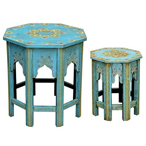 Casa Moro Juego de 2 mesas auxiliares orientales Saada azul M & L de madera maciza pintada a mano | mesas de centro Shabby Chic | Artesanía | Estilo marroquí | MA-32-47