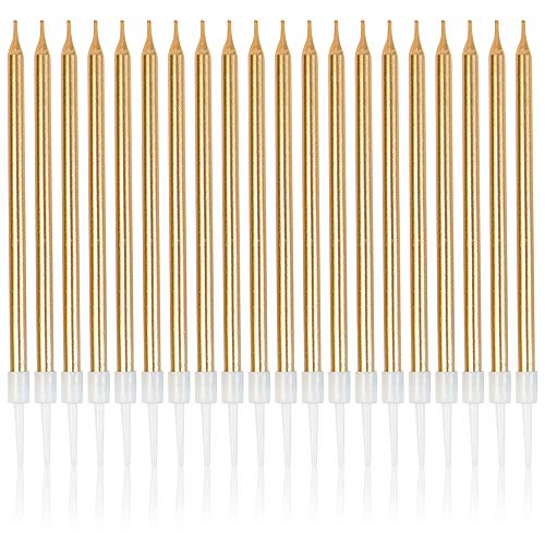 Framendino, 48 Count Metallic Birthday Candles Long Thin Cake Candles Champagne Gold for Birthday Wedding Party Decoration