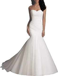 Wanshaqin Women/'s Mermaid Beaded Straps V Neckline Lace Bridal Gown Wedding Dress for Brides