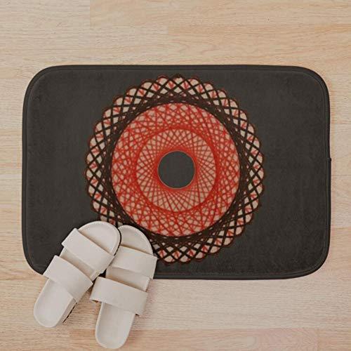 fjsabfj Spirograph Rote Badematte 3D-Druck Badematten Anti-Rutsch-weiche waschbare Badematte