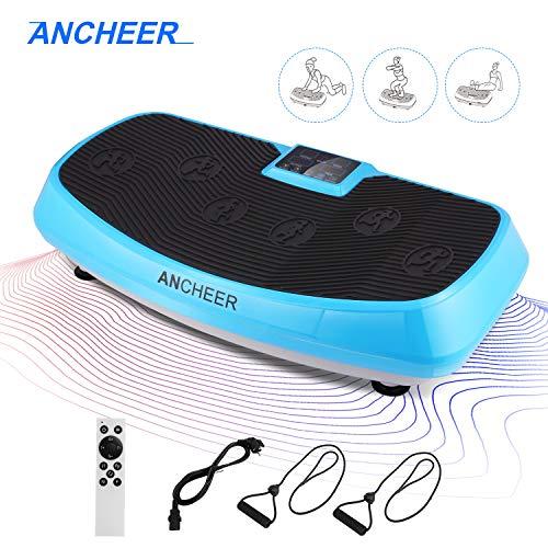 ANCHEER Vibrationsplatte 3D Wipp Vibrations Technologie for Fett Abbauen und Body Shaping von Hause,mit Leise Motor inkl. Stromkabel + Trainingsbändern + Fernbedienung (blau)