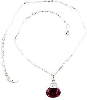 Lily-Crystal [P7500] - Collana fatta a mano 'Bohème' rosa fucsia argento - 23x14 mm.