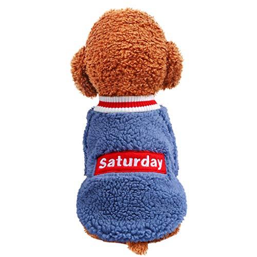 Allegorly Haustier Pullover Hund Katze Welpen Kleidungs Hundehemd Hundemantel Sweater Nettes Mode Haustier Lamm Samt T-Shirt Kleine und mittelgroße Hunde für Chihuahua Welpe Teddy Pudel