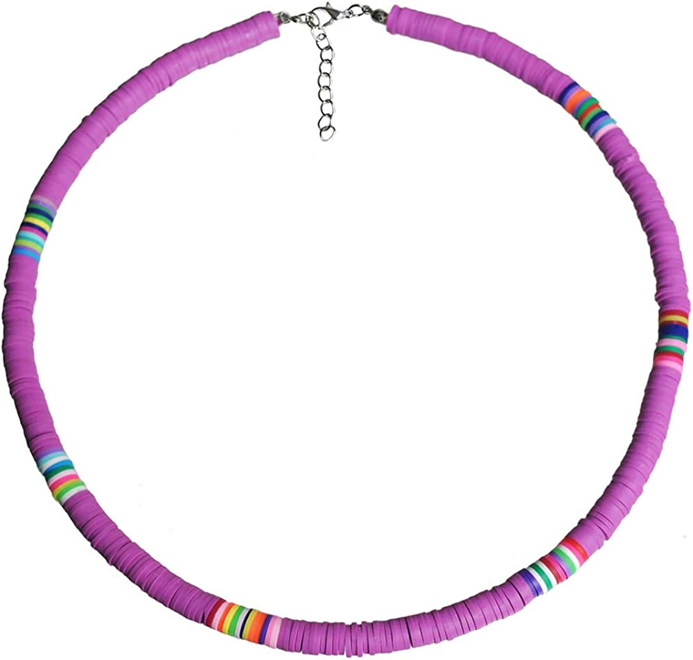The Woo's Surfer Choker Lightweight Soft Polymer Clay Necklace Colorful African Vinyl Disc 6mm Beades Necklace Collar Adjustable Handmade Boho Beach Jewelry for Women Girls
