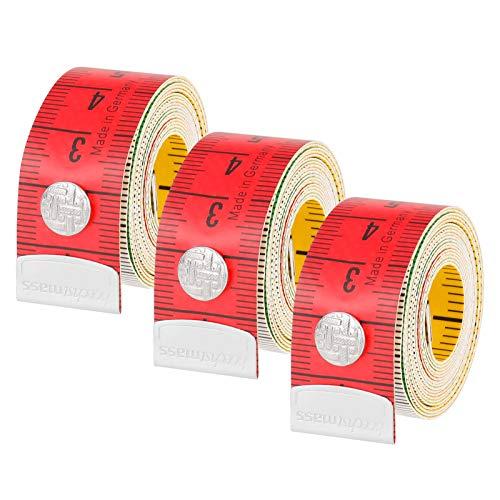 Smilcloud 3 Piezas de Cinta Metrica Costura, Cinta Métrica de Doble Cara de 60 Pulgadas con Botón a Presión, Cinta Métrica de Doble Escala, Mide el Busto y la Circunferencia de la Cintura
