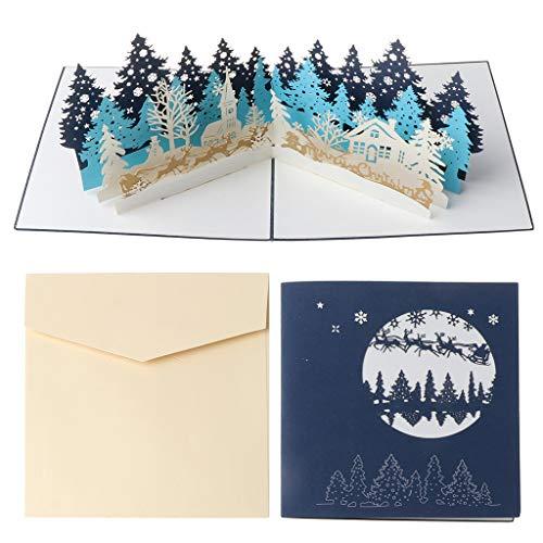 Yushu Merry Christmas Cards Christbaum Winter Geschenk Pop-Up Karten Weihnachten Dekoration Up Karte - 3D Karte, Up Grußkarte