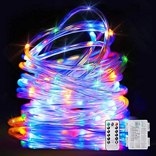LED String Lights Battery Operated Christmas Rope Light-32.8Ft 100 LEDs 8 Modes Outdoor Waterproof Fairy Lights Dimmable/Timer with Remote for Party Garden Decoration- Multicolor (1 Pack)