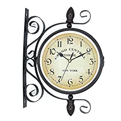 ColouredPeas 8 inch Vintage-Inspired Double Sided Wall Clock Wrought Iron Antique-Look Brown Round Wall Hanging Double Sided Two Faces Retro Station Clock with 360 Degree Rotation Home Décor (Black)