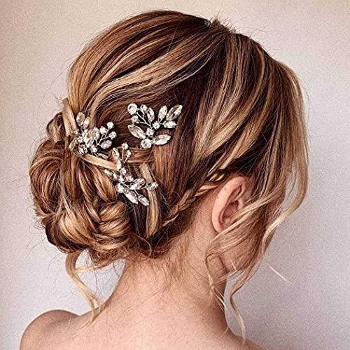 Aukmla Forcine per capelli da sposa, in argento, con cristalli, per capelli da sposa, per donne e ragazze, confezione da 3
