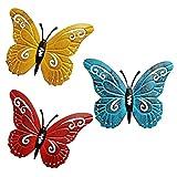 ORETG45 - Juego de 3 mariposas de metal para colgar en la pared, decoración de pared arti...