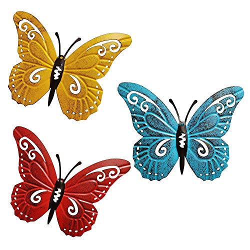 ORETG45 Mariposa de metal 3 unids/set Living om decoración de la pared...