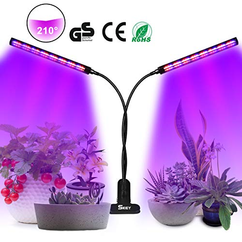SKEY Grow Light, LED Grow Light, Lámpara de Plantas, 96 LED Cultivo Luz de Plantas Lámpara para Plantas, 3 modos de luz y 6 modos de brillo, Regulables y Función de Temporizador