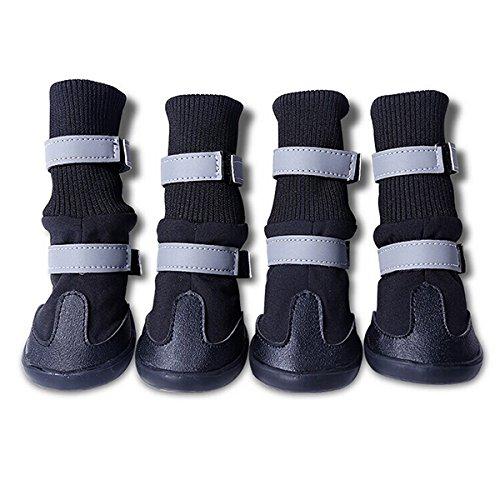 PIXNOR 4 Piezas Impermeable Botas Botines Zapatos de Perro -Tamaño S (Negro)