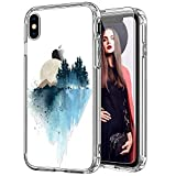 ICEDIO iPhone Xr Case with Screen Protector,Clear with Fashion Floral Designs for Girls Women,Shockproof Slim Fit TPU Cover Protective Phone Case for Apple iPhone XR Nice Painting