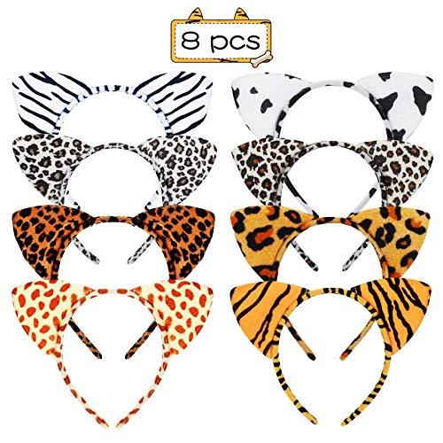 SEELOK Haarreif Tier mit Ohren Leopard Tiger Kuh Haarband Zebra Stirnband Wildtier Cosplay Kostüm Accessoire für Karneval Party Kinder Erwachsene