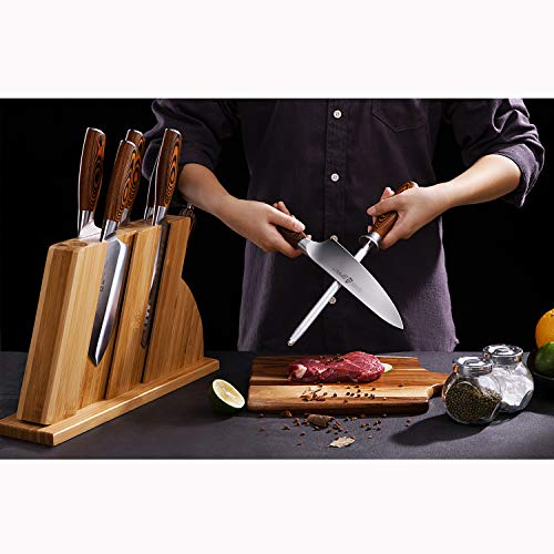TUO Knife Set 8pcs, Japanese Kitchen Chef Knives Set with Wooden Block, including Honing Steel and Shears, Forged German HC Steel with comfortable Pakkawood Handle, Fiery Series Come with Gift Box