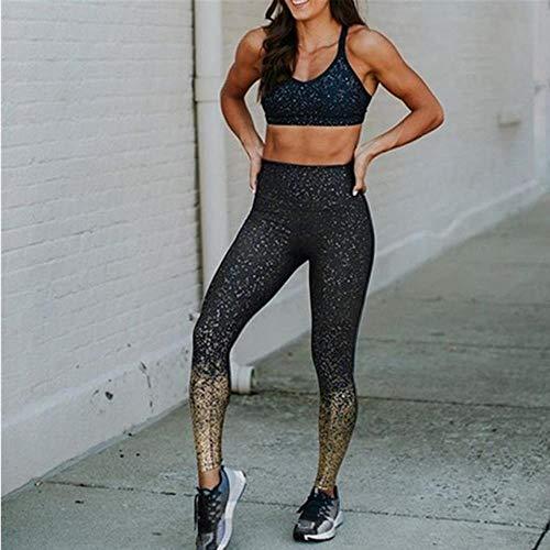 HPPL Dames Yoga broek Hoge taille Glitter Slanke broek Rekbaar Push-up Sportkleding Hardlopen Fitness Gym Kleding Sportleggings, grijs, M