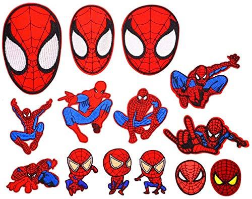 Parches Termoadhesivos Spiderman Parche Ropa Parches Decorativos Parche Bordado para Jeans Chaquetas Ropa Bolso Zapatos Gorras