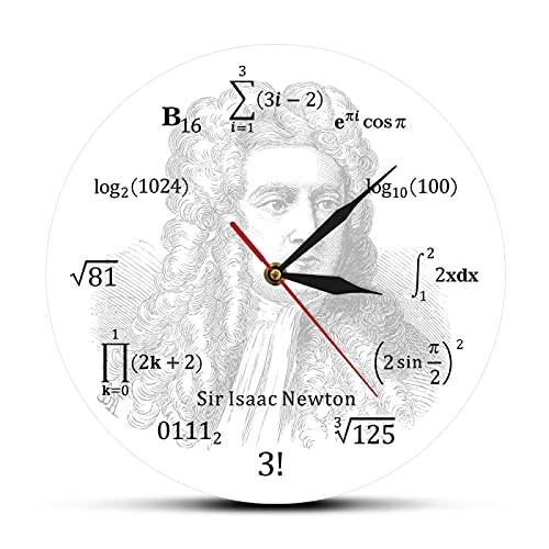 Reloj de Pared Sir Isaac Newton, Famoso matemático inglés, astrónomo, ecuación matemática, Reloj de Pared, Ciencia educativa, Arte, Reloj de Pared