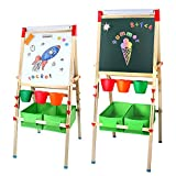 AMOSTING Kids Wooden Easel, Learning Toys Easel for Kids with Magnetic Whiteboard