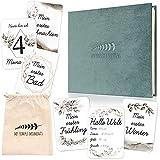 Baby Fotoalbum aus Samt zum Selbstgestalten mit 34 Meilensteinkarten durch My Simple Moments, Geschenke zur Geburt, Babyparty und Schwangerschaft, Scrapbook/Ringbuch mit Meilenstein Karten