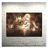Tiiiytu Sword Art Online 2 Kirito Asuna Póster Impreso Imágenes De Anime para Dormitorio Decoración De La Sala De Estar Decoración De La Pared -50X70Cm Sin Marco