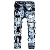 Men's Jeans Vintage Washed Ripped Hole Folds Work Frayed Patchwork Zipper Basic Denim Pants Blue