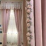 Tende oscuranti in lino di cotone con occhiello superiore, set di 2 pannelli ricamati in stile rurale francese tende per tende decorative per camera da letto delle ragazze, testa di tenda in pizzo