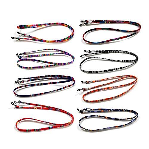 Correa de gafas de sol de 8 piezas LuLyL, gafas de sol con correa de cadena, gafas de lectura de cadena de cordón para deportes mujeres hombres niños