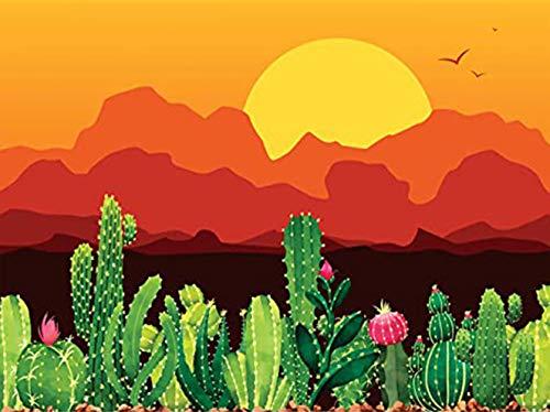Bimkole 5D DIY Diamond Painting Accesorios de diamante Kit de pintura de diamantes puesta de sol Cactus paisaje planta perforado completo Kit de pintura por números con decoración, 30 x 40 cm