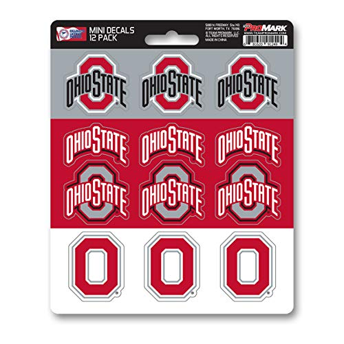 FANMATS ProMark NCAA Ohio State Buckeyes Decal Set Mini (12 Pack), Team Color, One Size