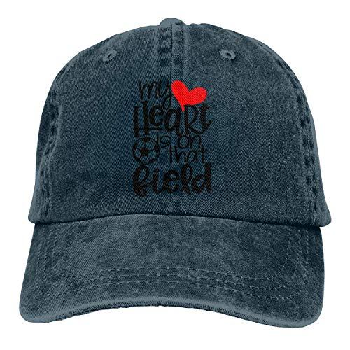 NOBRAND Secado Rápido Dad Hat,Cómoda Sombrero De Deporte,Transpirable Ocio Sombrero,Mi Corazón Está En Ese Campo Fútbol Mamá Hombres O Mujeres Pantalones Vaqueros Ajustables Gorras De Béisbol
