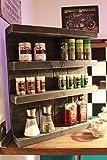 Dekorie Especiero de madera – para pared o de pie – Vintage marrón – 4 estantes – 57 x 50 x 12 cm – Madera maciza