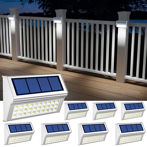 Solar Lights Outdoor, 8 Pack Solar Fence Lights with 30 LED Waterproof Solar Deck Lights for Garden Walkway Backyard Pathway - Cool White