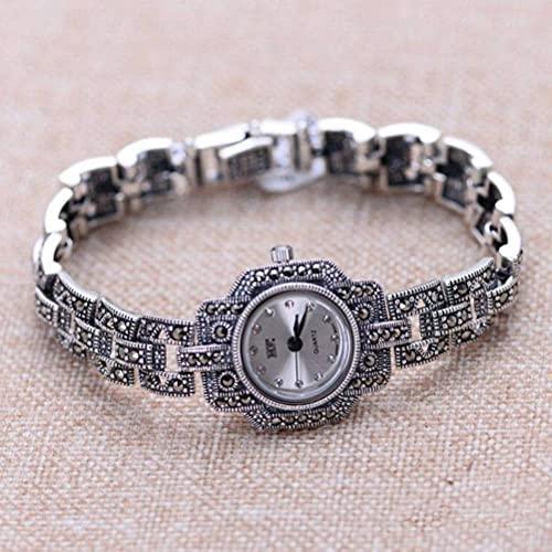 WOZUIMEI Reloj Vintage Plata de Ley 925 Reloj de Pulsera Vintage Joyas Artesanía en Plata Tailandesa Reloj de Mujer con Marcasitablanco