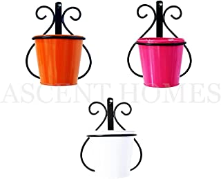 """Ascent homes Wall Mount Metal Planter Stand with Round Galvanized Bucket (5.5 """" x 7.7"""" x 9.5"""", Multicolour) -Set of 3 Pieces"""
