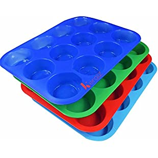 12 Cup Silicon / Silicone Muffin Tray Cupcake Cake Cases, moulds. Available in pink, blue or red.:Shizuku7148