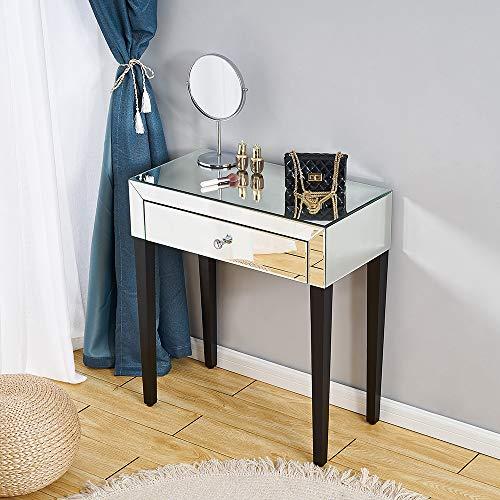 Ruication Gabinete de almacenamiento de madera maciza de lujo, color blanco, tocador de maquillaje, mesa de tocador para dormitorio, sala de estar, baño