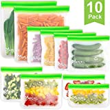 10 Pack bolsas de almacenamiento reutilizables, bolsas de bocadillos y bocadillos Ziplock reutilizables, caja fuerte para congelador, bolsas libres de BPA para alimentos,...