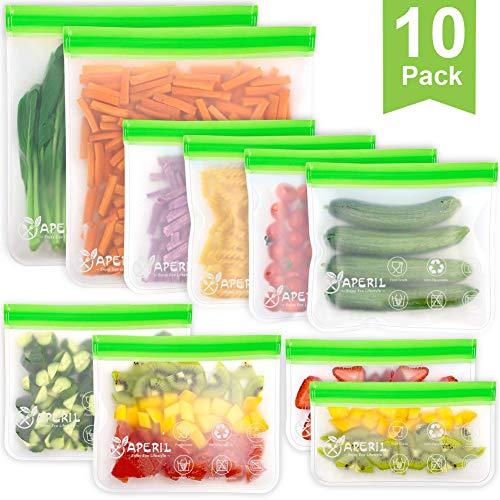 Lebensmittel Beutel Wiederverwendbare, Vielseitige Aufbewahrungsbeutel Gefrierbeutel Küche Sandwich Tasche für Obst Gemüse Milch Snacks Fleisch, 10 Stück