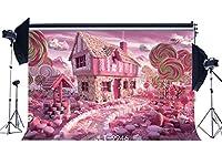 GooEoo 5x3ftキャンディランドロリポップキャンディハウスキッズ子供誕生日パーティーポートレート写真背景写真家族パーティー誕生日背景ベビーシャワーの装飾ビニール素材