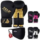 VELO Guantes de boxeo de piel de cristal para entrenamiento Muay Thai Sparring, saco de boxeo, guantes de combate para saco de boxeo | almohadilla de enfoque | almohadilla de brazo (10 oz, dorado)