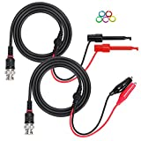 Sumnacon BNC Male Connector to Dual Alligator Clip + Minigrabber Test Lead, 300 V 50 Ohm BNC Test Cable Oscilloscope Test Probe Leads With Marker Ring