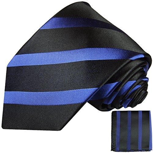 Cravate homme noire bleu rayé ensemble de cravate 2 Pièces ( longueur 165cm )