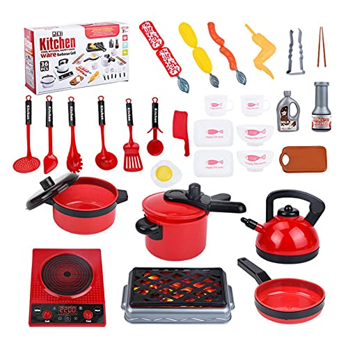 Kitchen Toy Set, Realistic Cooking Game, Kitchen Play Accessories With Pots and Pans, Encourage Social Interaction