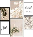 Papierschmiede® Mood-Poster Set Bohemio   Cuadros como decoración de Paredes   Living y Dormitorio   2X A3 y 4X A4   Estilo de Vida Paz Naturaleza Beige - sin Marco