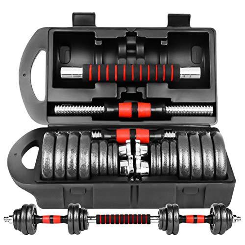 【3in1連結可能 】ダンベル 可変式 鉄アレイ【収納ケース付き】 10kg 20kg 30kg 40kg 50kg 2個セット アジャスタブル【延長用シャフト】バーベルにもなる 赤/青/黒 (赤黒30kg(15kgx2)箱付き-A3)